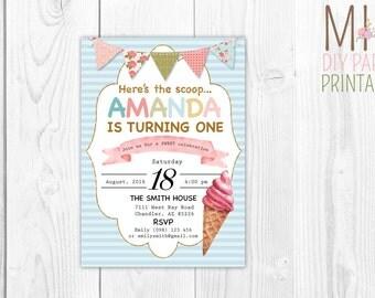 Glitter Icecream Invite_3,Ice Cream Invitation, Ice Cream Birthday Invitation, Ice Cream Party Invitation,Ice Cream Cone, Party Invite