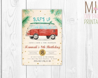 Watercolor surf invite_3,Surf Party Invitations, Surf Birthday Invitations, Surf Invitations, Luau invitation,Surf Invite, Surf Invitation