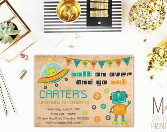 Robot Birthday Invite - Robot Invitation - Robot Birthday Invitation - Robot Party Invitation- Let's Go Nuts - Boy Robot Birthday Party