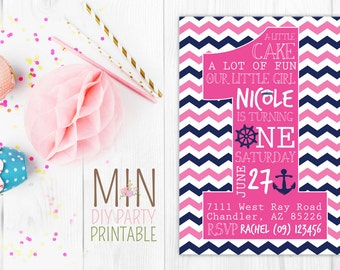 Girl Nautical First Birthday Invitation,Girls Navy Blue Pink 1st,Nautical First Birthday Invitation,Nautical 1st Birthday Invitations