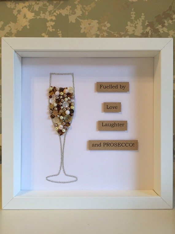 Prosecco Wedding Day Present Button Frame Engagement