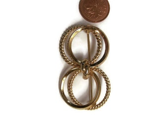Vintage Circle of Love Brooch Pin Gift for her Triad Stamped Designer Brooch