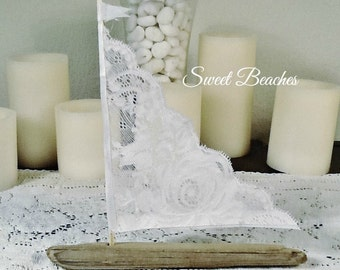 White  Lace Driftwood Sailboat Seaside Nautical Resort Decor Wedding Center Peice