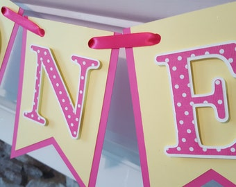 pink lemonade high chair banner * ONE banner * pink and yellow rag garland banner* first birthday banner * pink lemonade party decor * lemon