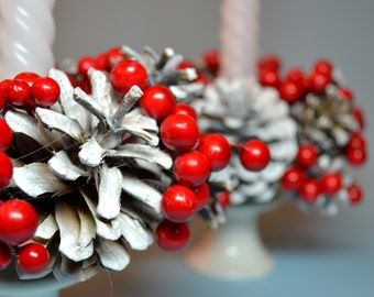 Christmas Holiday Snow-covered Сones with Red Berries Wreath for Candlestick, set of 2