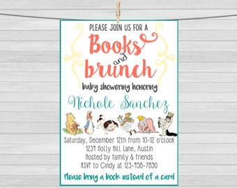 Story book Baby Shower Invitation, Bring a Book Babyshower invitation, Storybook babyshower, Book baby shower, Children's book