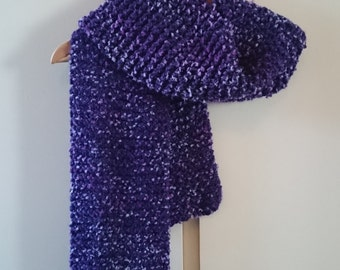 Knitted Purple Fluffy Scarf muffler