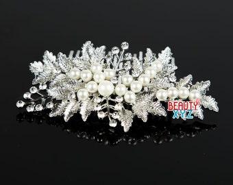 Wedding hair comb, Pearl hair comb, Bridal pearl comb, Rhinestone wedding hair comb, Wedding comb pearl, Bridal hairpiece 2214