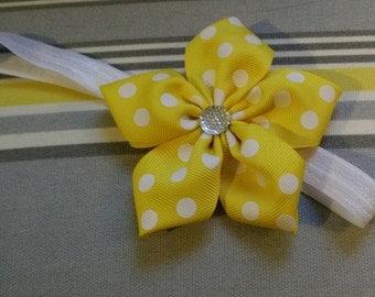 Yellow Polka Dot with Sparkle Gem!