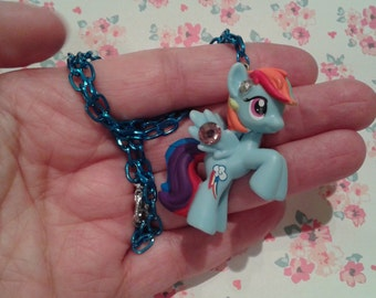 "ONLY 1 AVAILABLE! Sweet Rainbow/Blue Pony Necklace on 16"" Chain, Fairy Kei, Magical Girl"