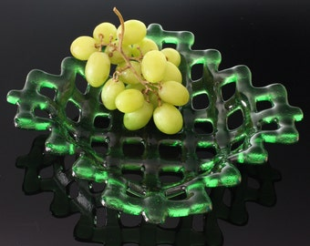 Fused Glass Fruit Bowl, Green Glass Bowl with Lattice Design, Glass Bowl Kitchen Table Centerpiece, Handmade Kiln Fired Art Glass