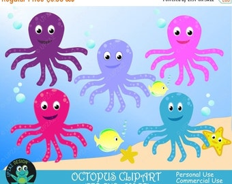 75% OFF SALE Octopus Clipart - UZ635