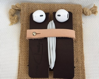 """Leather Earbud Holder/Organizer - """"The Earbud Bug"""""""