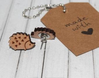 Hedgehog Laser Cut Wood Stud Earrings