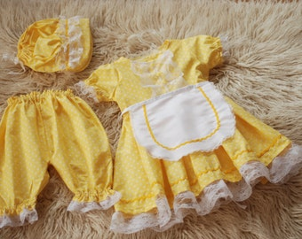 Amish look dress, yellow color. Fits girls 18 - 24 months.photography prop.RTS