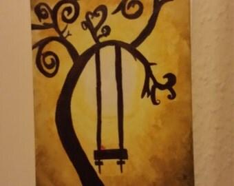 Tree silhouette  canvas