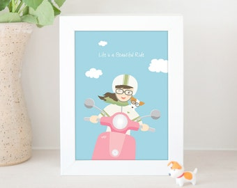 Dog Print - Girl riding moped scooter with her Jack Russell Terrier dog, life is a beautiful ride, JRT Print, Home decor, Dog Illustration