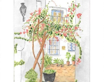 Spanish Courtyard, Andelusia, Spain. Print from original Watercolour.