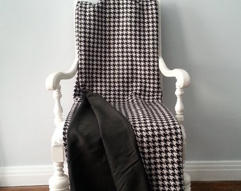 Tweed Black and White Throw Blanket