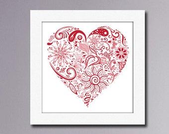 Printable Art Floral Heart Love, Printable poster, Wall art Valentines Digital Download, Heart Printables, instant download