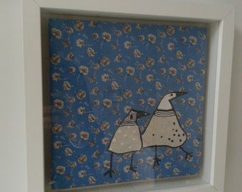 Handmade Fabric Bird Framed Pictures
