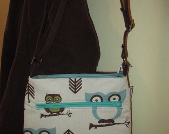 Owl Cross Body Bag with Sky Blue Lining
