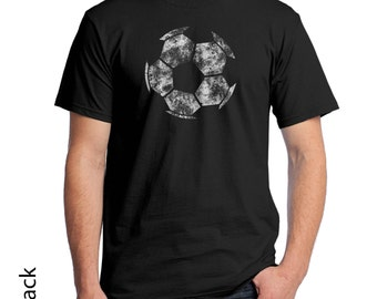 Soccer Ball Graphic T-Shirt. Show your soccer pride with this simple vintage soccer ball 414