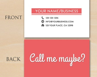Call Me Maybe Business Card - Photoshop Template PSD *INSTANT DOWNLOAD*