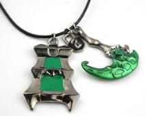 League of Legends Thresh scythe/lantern necklace.