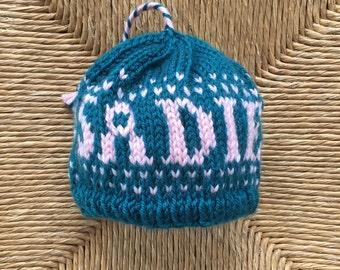 Knit Baby Beanie, Newborn Beanie, Personalized Baby Beanie, Custom Baby Beanie, Baby Hat, Knit Baby Hat