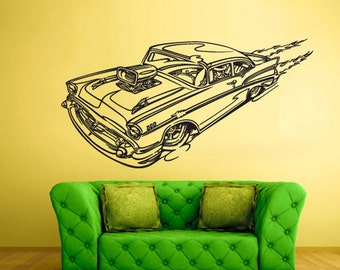 rvz1507 Wall Decal Vinyl Sticker Hot Rod Car Auto Automobile Retro Old Muscule