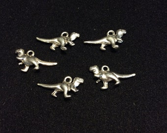 Dinosaur Charms 5pcs Silver finished metal Dino T-Rex