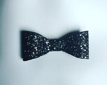 "Large 5"" all black glitter bow"