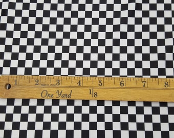 Black/White Checkers-Nascar Checkered Fabric Race Car Motorcycle Bikes Flag Fabric Sold By the Yard- [Spandex Fabric]