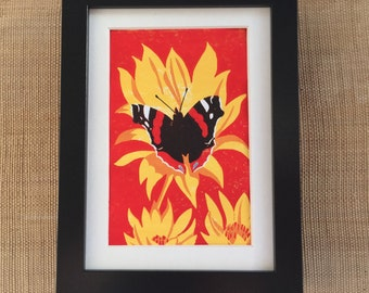 Red Admiral butterfly linocut print - bright summer colours