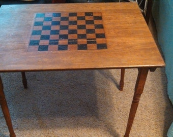Vintage Checkers / Folding Game Table - 1890's