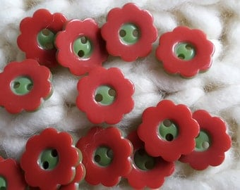 Rare 2 hole Red & Green Flower Shaped Buttons 15mm x 50 pieces