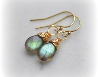 Gold Green Labradorite Earrings, Green Labradorite Dangle Earrings in Gold, Small Gold Labradorite Earrings, Handmade Jewelry, Gift for Her