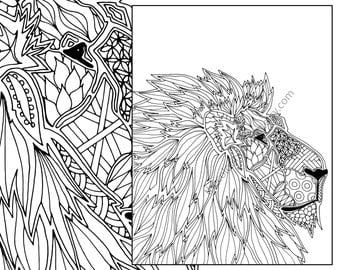 animal coloring page  adult digital lion pdf zentangle Lion Etsy