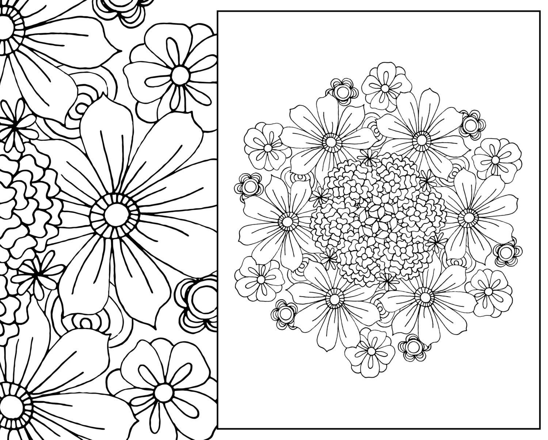 Flower arrangement coloring pages - Flower Coloring Page Floral Adult Coloring Page Digital Mandala Pdf Floral Coloring Botanical Coloring Page Flower Colouring Sheet
