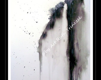 Watercolour - Watercolour original - waterfall - waterfall - 55 x 42 cm