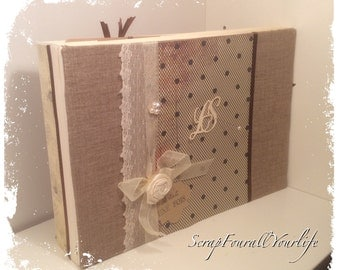 """Marriage very elegant """"FishNet"""" chocolate and ivory multipochettes guestbook"""