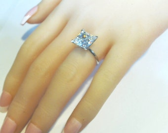 10ct.Princess Solitaire Wedding Engagement Ring 14k White Gold + FREE GIFT