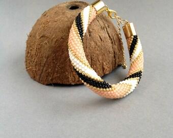 Handmade bracelet, beaded crochet bracelet, rope bracelet, Winter Beaded bracelet, Seed Bead bracelet, Gift for her, black, pink bracelet