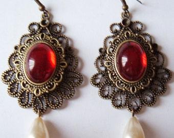Tudor Medieval Gem & Pearl Drop Earrings choice of stone colours
