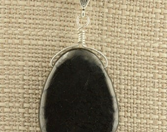 Shungite Wire Wrap Pendant Necklace PB-5 Leather Cord Protection Energy