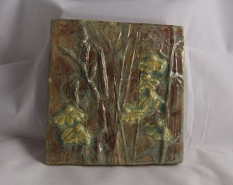 Ceramic Art Tile Wildflowers#3 moss green and yellow