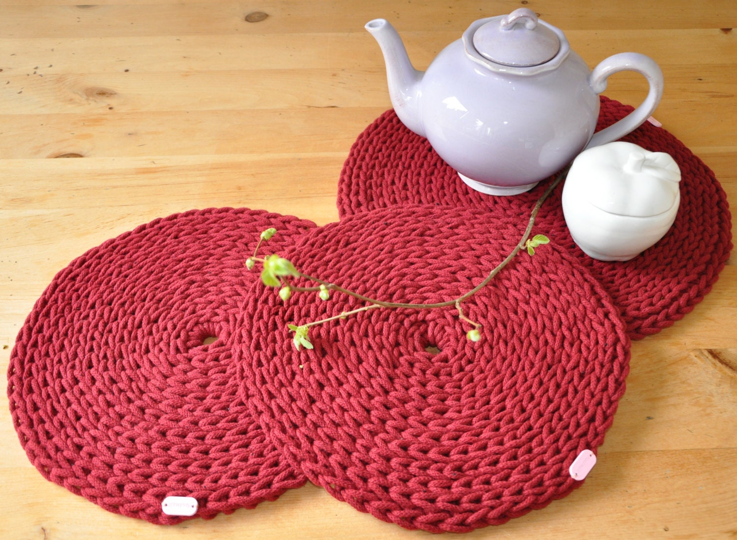 Crochet Round Placemats set of 3 Red by ThoughtsofHomeDecor