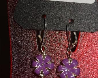 Purple Enamel / Flower / Dangle / Earrings