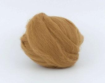 GoldenTobbaco B187-1, 1.78oz (50gr) 26mic merino tops felting wool, for needle felting, wet felting, spinning.